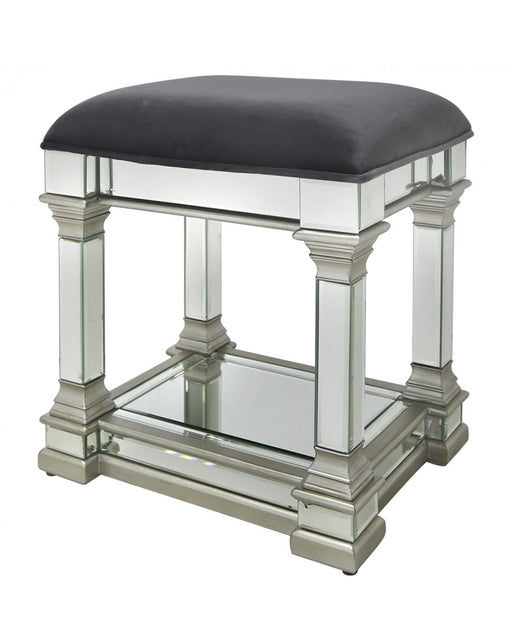 Amber Mirror Stool Silver