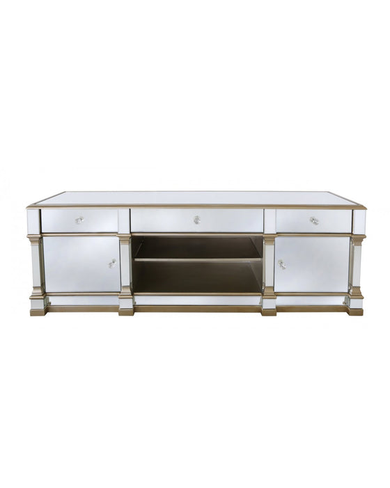 Athens Gold Mirrored TV Entertainment Stand – Large