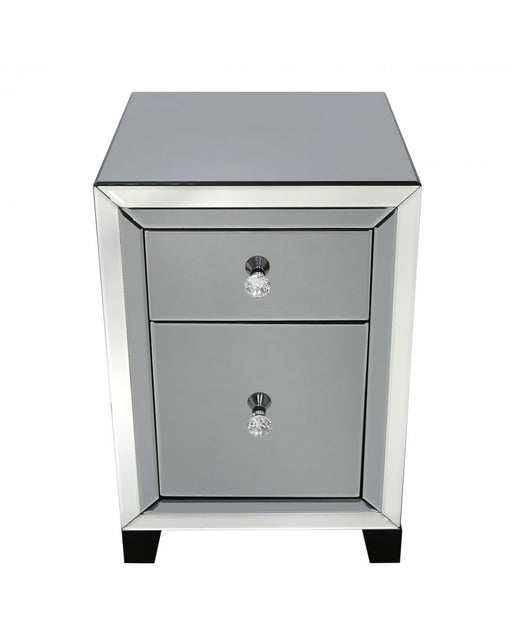 Value Otto Mirror Smoked Bedside Cabinet