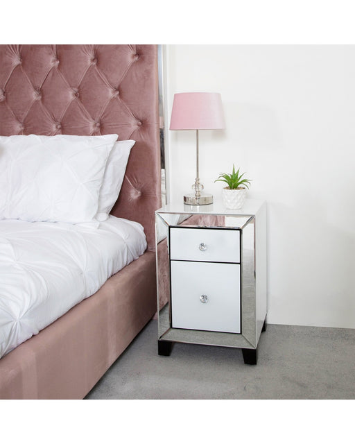 Arctic White Mirrored Glass 2 Drawer Bedside Cabinet Table