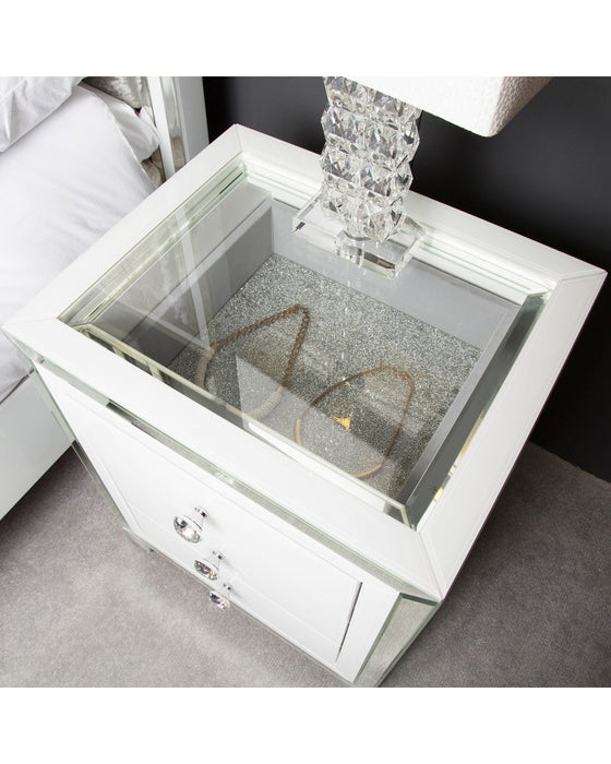 Madison White 3 Drawer Mirrored Display Bedside Cabinet With Clear Top