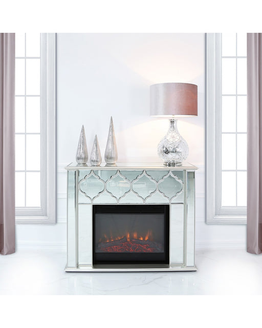 Marrakech Silver Mirror Fire Surround With Electric Fire Insert