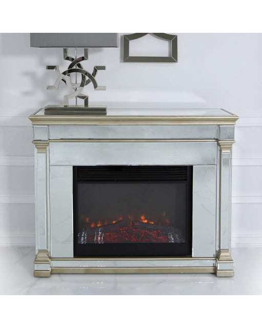 Champagne Amber Mirrored Fire Surround With Electric Fire Insert