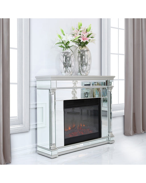 Silver Amber Mirrored Fire Surround With Electric Fire Insert