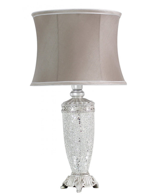 Silver Sparkle Mosaic Antique Silver Regency Lamp With Taupe Trimmed Shade