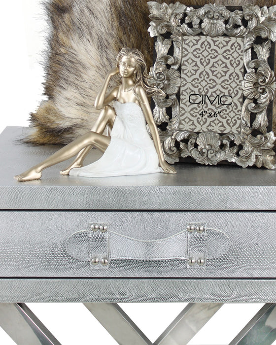 Silver Faux Snakeskin End Table