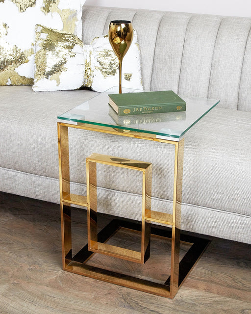 Alexis Gold Metal Sofa Table Clear Glass Top