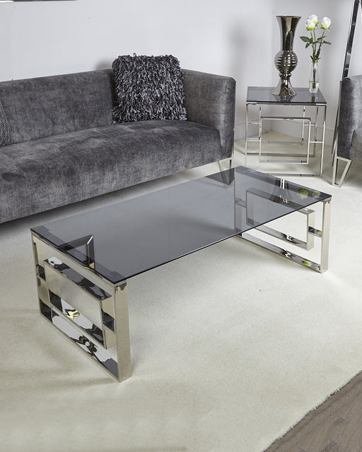 Alexis Stainless Steel Coffee Table Smoked Glass Top