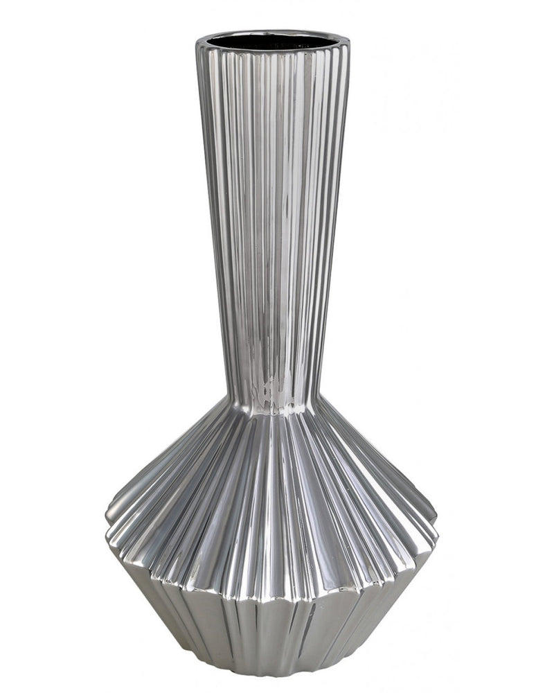 Medium Silver Ribbed Vase