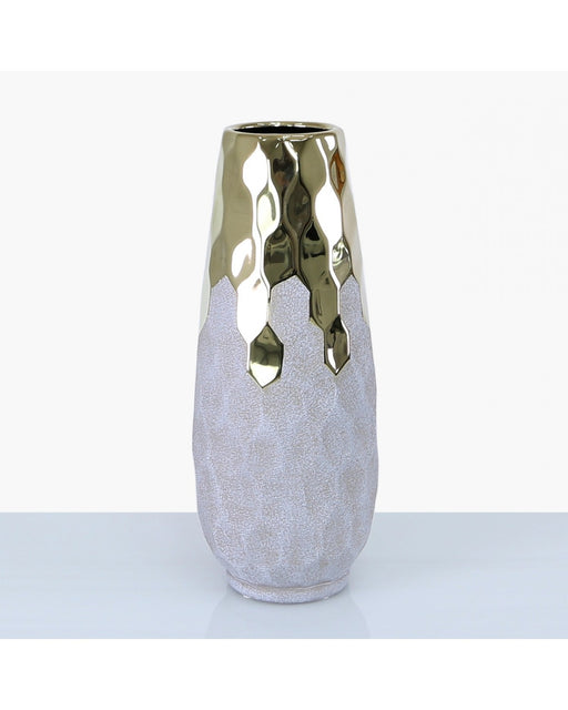 38cm Geo Champagne And Light Grey Vase