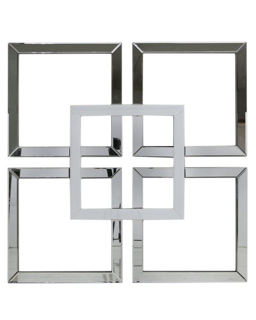 Manhattan 90x90 Geo Mirror Wall Art White Clear