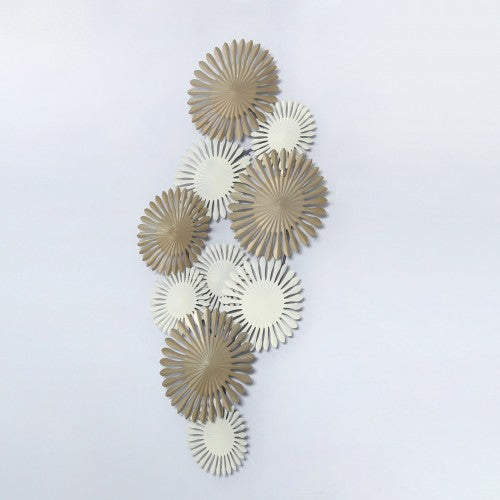 115cm Abstract Metal Wall Art Gold And Ivory