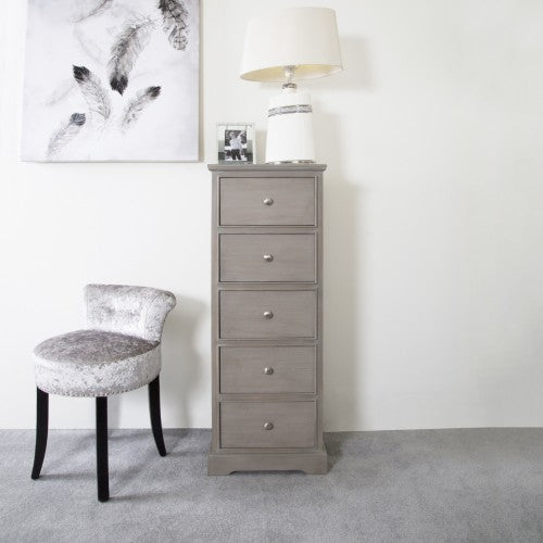 Arabella Taupe Wood 5 Drawer Tallboy Cabinet Chest Of Drawers