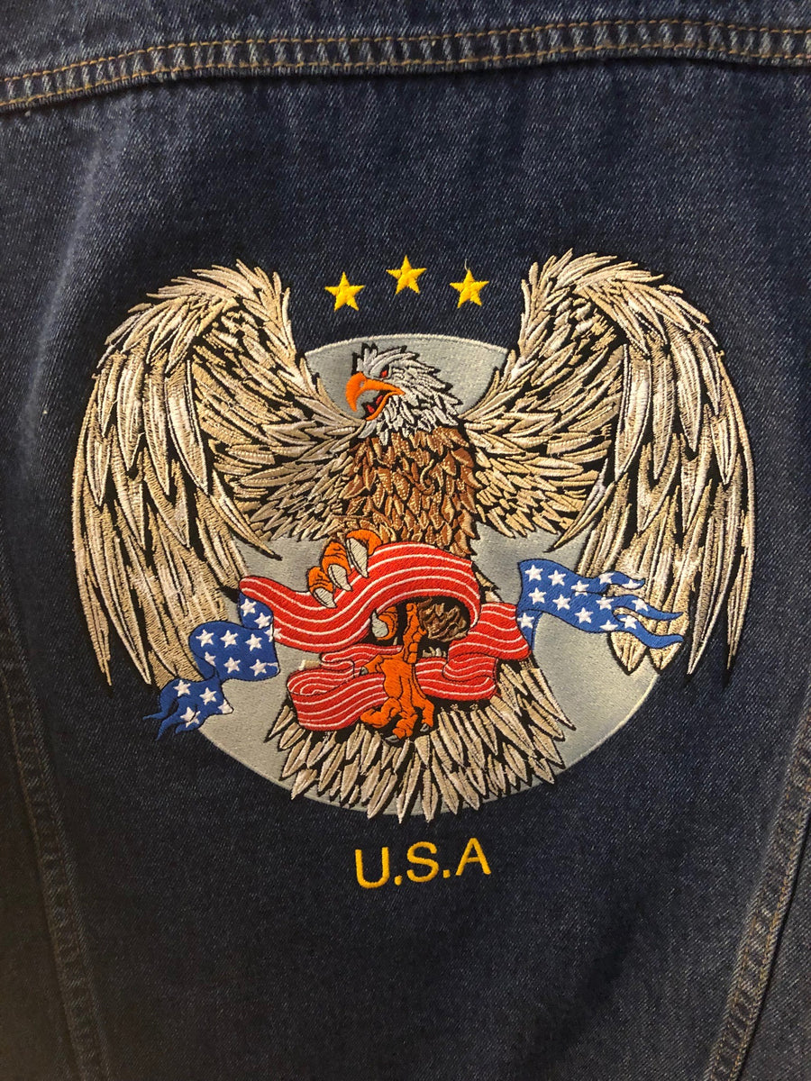 Denim Jacket - Eagle Clutching Flag