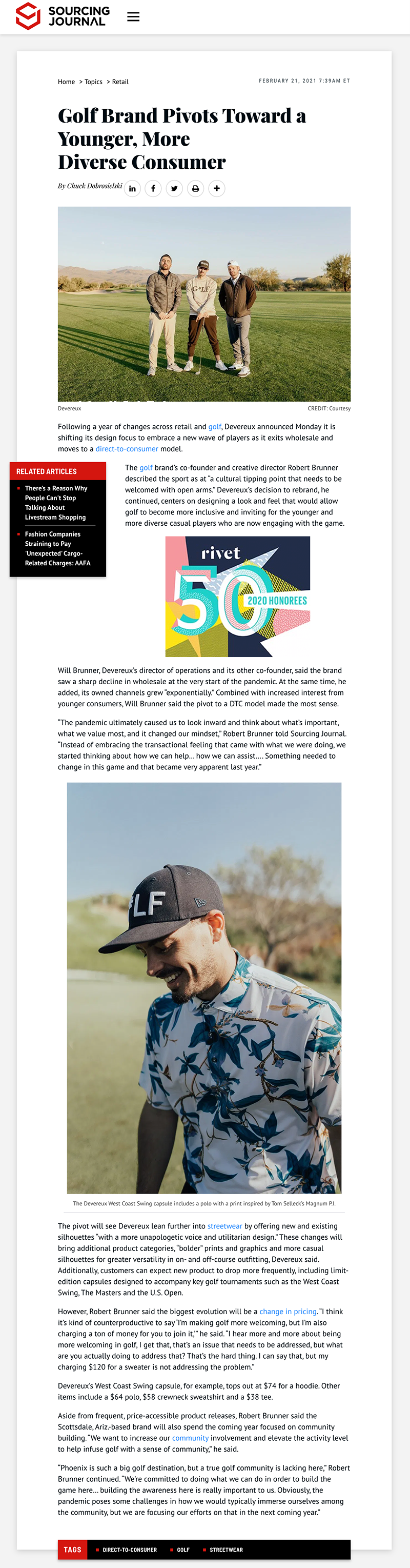 Sourcing Journal's Feature on Devereux Golf brand