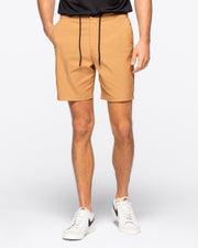 Rusted tan active short with black drawstrings elastic wasteband