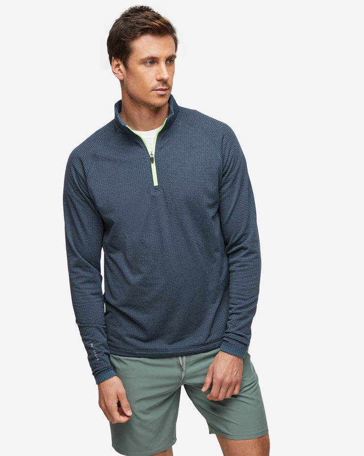 Dark Grey mens quarter zip pullover with a neon green zipper mid-layer made with a waffle microfleece