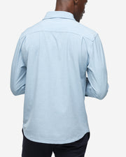 Light blue breathable and stretchy long sleeve classic button down