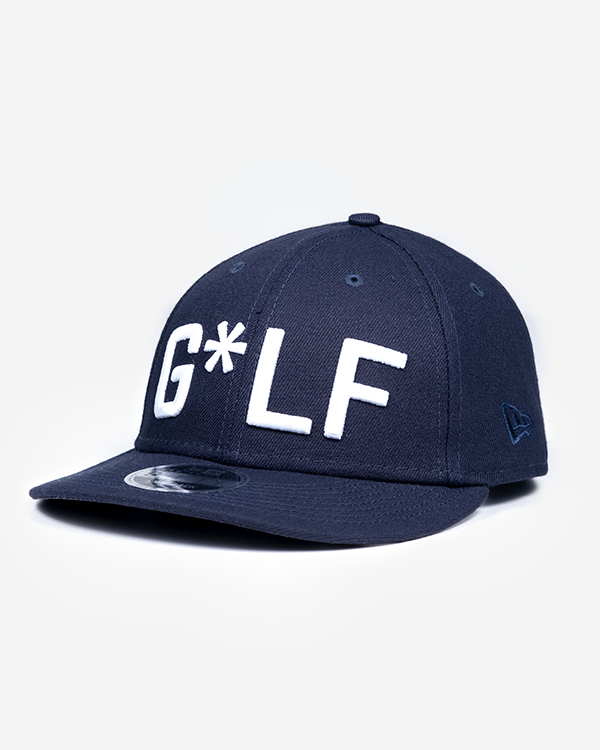 "Navy hat with white embroidered ""G*LF"" logo and Devereux Proper Threads on back"