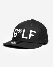 Black hat with white embroidered G*LF logo and Devereux Proper Threads on back