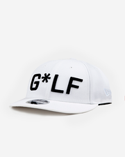 White hat with black embroidered G*LF logo and Devereux Proper Threads on back