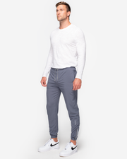 Grey lightweight joggers with reflective ankle zipper and drawstring waistband