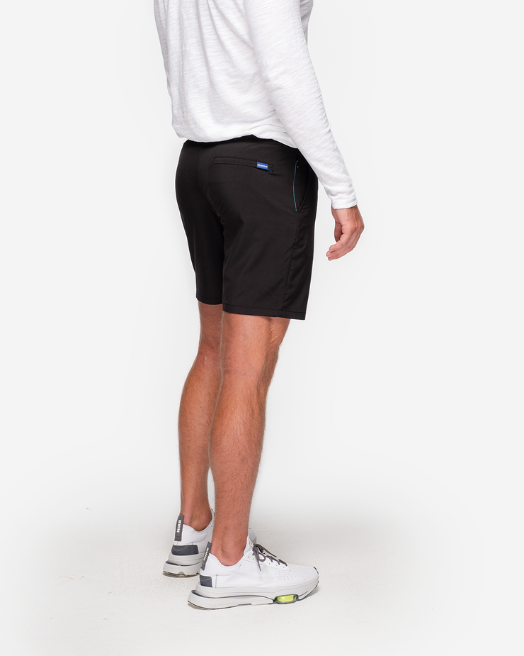 Black unlined drawstring active short with zipper pocket by Devereux