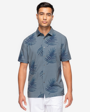 Green-Blue lightweight short sleeve button down with navy blue allover palm print