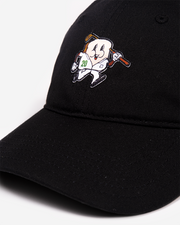 Black dad hat with golfing pimento cheese snachwitch man icon embroidery and adjustable fastener and metal clasp