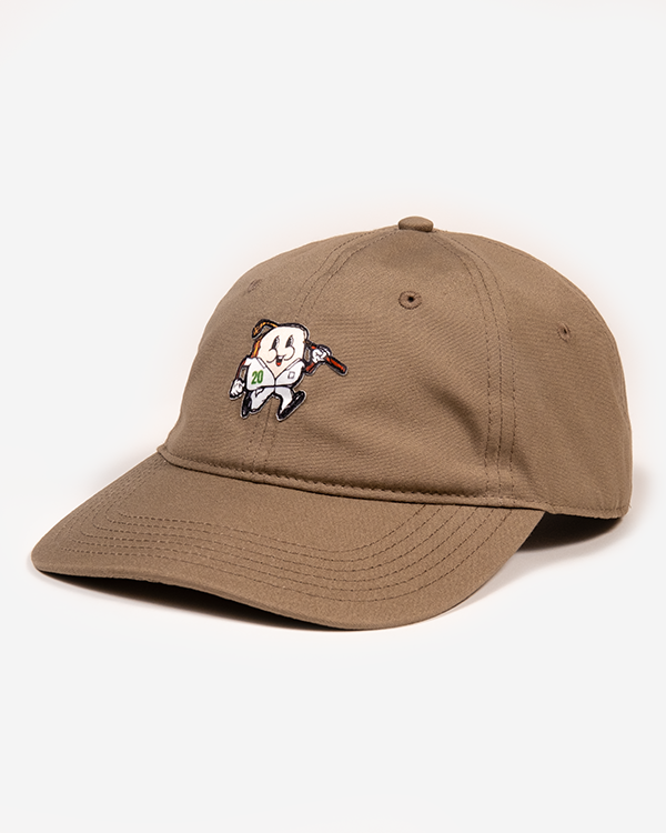 Light brown dad hat with golfing pimento cheese snachwitch man icon embroidery and adjustable fastener and metal clasp