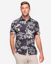 Black lightweight short sleeve button down with and allover off-white, olive green, and grey plant print