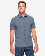 Solid Dark grey collared short sleeve button down with left chest pocket