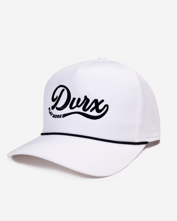 "White trucker snap back hat with black embroidered ""DVRX play more"" script logo and black rope along base of front pannel"
