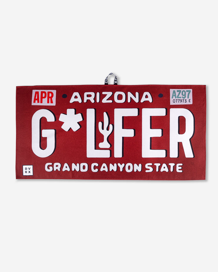 Maroon and white G*LFER vintage Arizona License plate microfiber golf towel