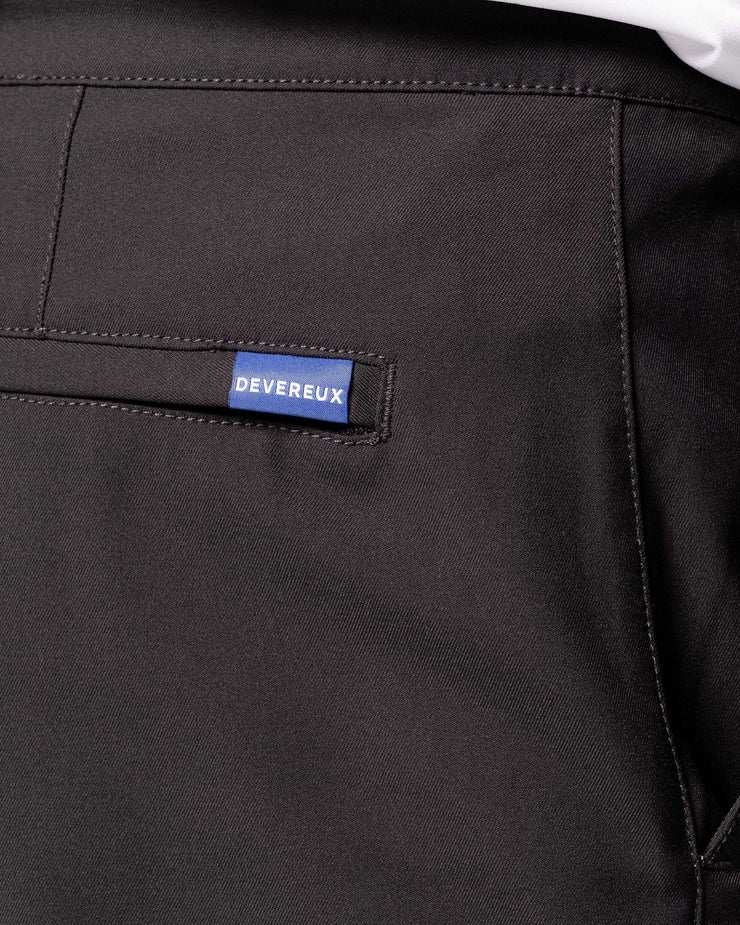 "Dark grey active pant with black drawstring elastic wasteband and blue ""Devereux"" tag on back pocket"