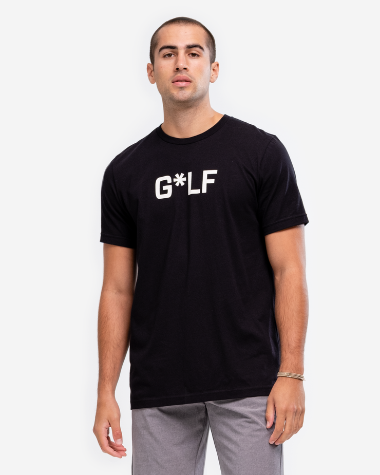 "Black cotton crew neck t-shirt with black ""G*LF  and bogey, bunker, double boogy, duck hook, fore, hazard, out of bounds, rough m skull, shank, slice, snowman, traps, yips"""
