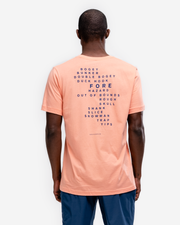 "Peach cotton crew neck t-shirt with navy ""G*LF and bogey, bunker, double boogy, duck hook, fore, hazard, out of bounds, rough m skull, shank, slice, snowman, traps, yips"""