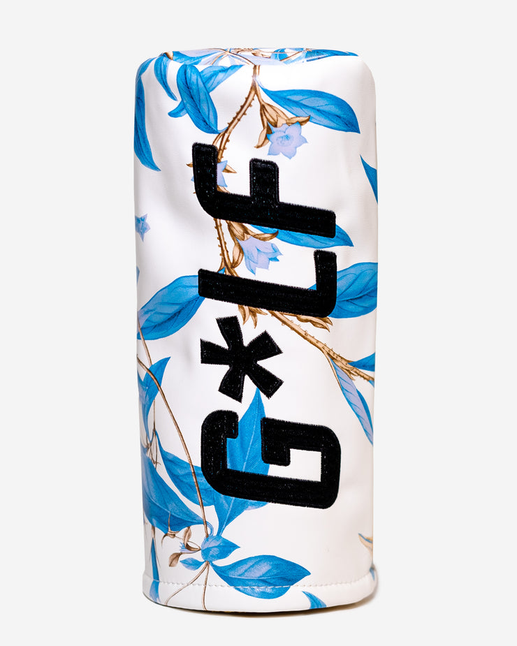 White leather headcover with all-over blue hawaiian floral print with G*LF logo on side