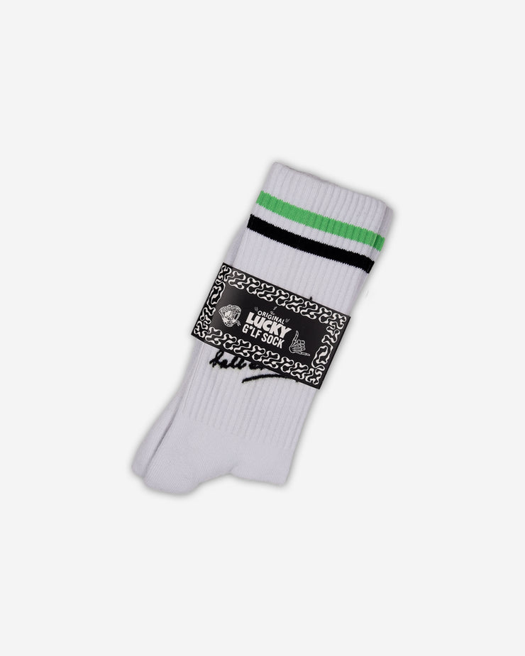 White sock with neon green and black stripe and hit the damn call already text in black