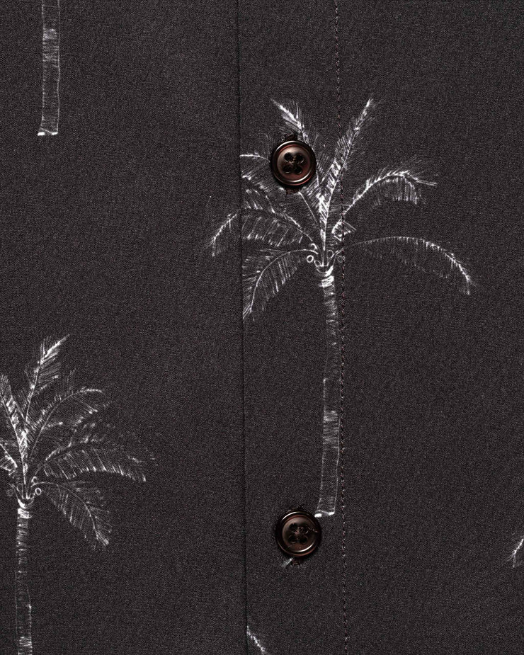 Black short sleeved button down with an all over grey palm tree print