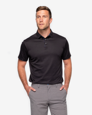 Classic all black breathable polo with inner blue and black inner collar detail paired with grey shorts
