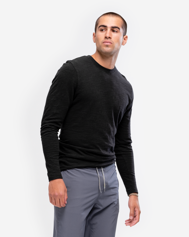 Long Sleeve Slub Crew Neck - Black