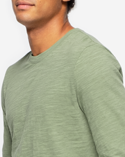 Green slub jersey material crewneck long sleeve shirt