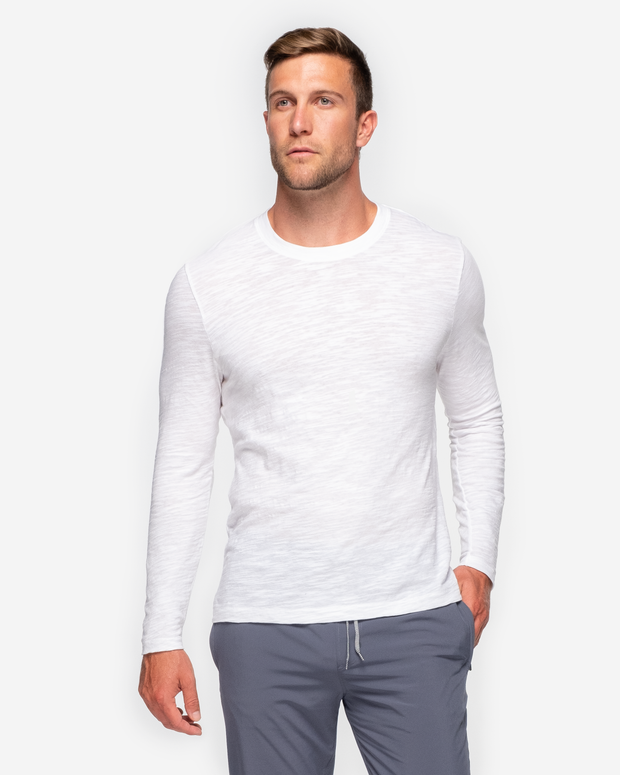 Long Sleeve Slub Crew Neck - White