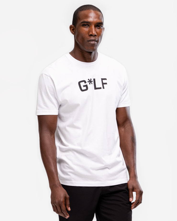 "White cotton crew neck t-shirt with black ""G*LF  and bogey, bunker, double boogy, duck hook, fore, hazard, out of bounds, rough m skull, shank, slice, snowman, traps, yips"""