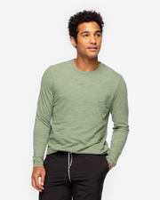 Long Sleeve Slub Crew Neck - Sea Spray Green