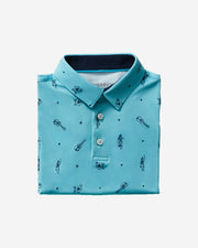Kids teal blue polo with navy ukulele and hula girl print and three button placket