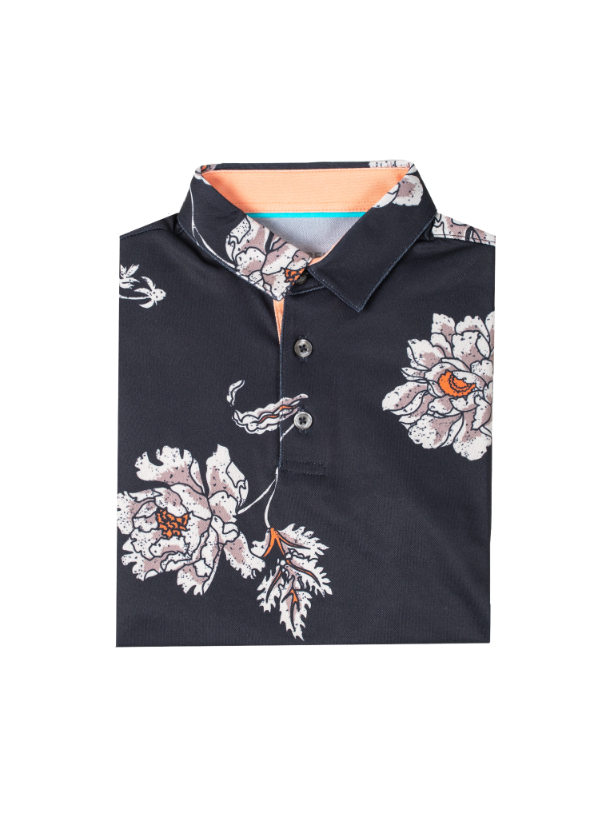 Kids Black polo with white and orange floral print and peach orange inner collar