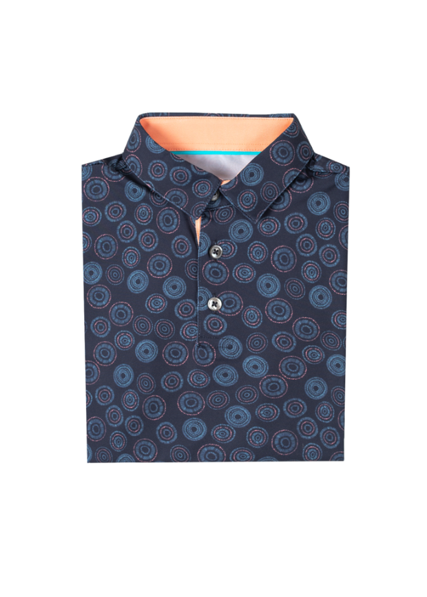 Kids dark navy blue breathable polo with orange and blue circular all over print