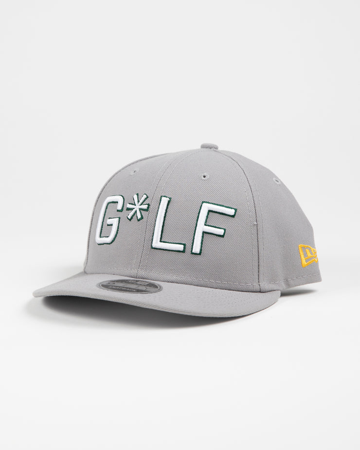 Light grey hat with white and green embroidered G*LF logo and Devereux Proper Threads on back